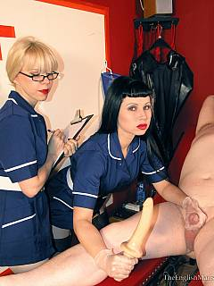 Hot nurses are having worthless wanker at their disposal: performing tests with his ass and tiny penis