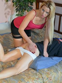 Older dude was sleeping when leggy blond jumped on top of him, pulled panties down and started spanking his ass