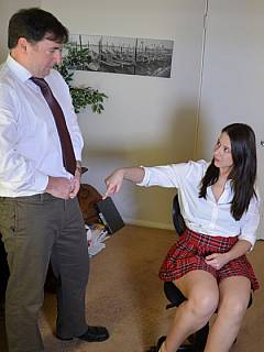 The pleasure of being bent forward and got paddled by a sexy young teacher
