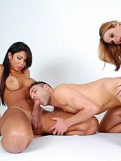 Handyman is taken into submission and fucked by by hot blond and her transsexual mate
