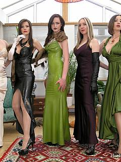 Posh femdom ladies are there to see the way three faminized slaves are passing their final exams before becoming 100% sissies
