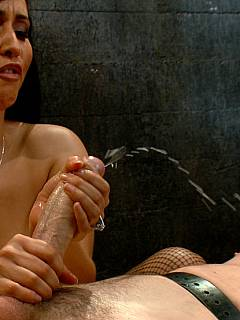 The boy is captivated by hot latin MILF: put in bondage, having his cock and balls roped tightly and then subjected to whipping