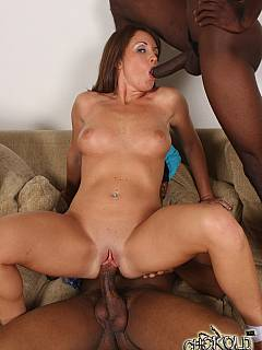 Two big black cocks are spraying cum all over wife's belly so the cuck husband could enjoy the taste while licking and swallowing all the mess