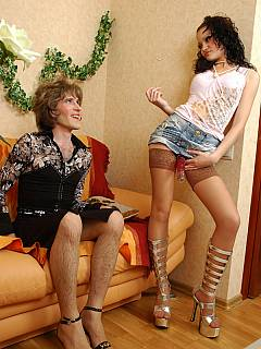 There is two holes where cross-dresser can take big jelly dildo in and he does this like a real slut