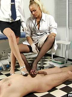 Medical tests are sometimes require exposed male to be trampled with high heels, anal probing and stroking cock in front of clothed girls