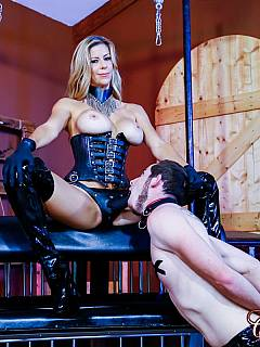 Slave has to beg beautiful MILF dominatrix to spent her precious time on training him with strap-on cock