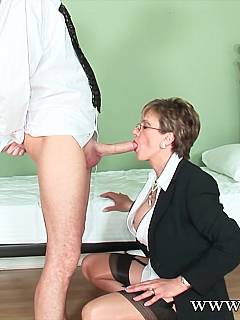 Lady-boss is always having a stud to play with in case she is in the mood for swallowing a load
