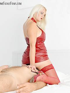Posh blond is red leather is in the mood for some facesitting teasing and slave masturbation with orgasm denial