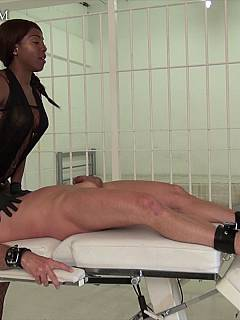 Ebony dominatrix knows the perfect way to ruin orgasms: it is when sitting on slave's face and operating his cock with her hands
