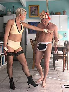 Slutty pool cleaner takes over the house owner: makes him suffer femdom pain and humiliation