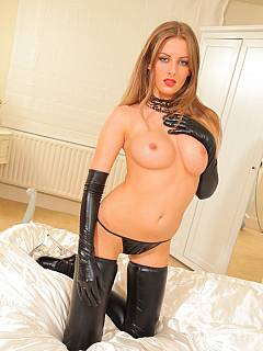 Rubber stockings, high heels and tiny panties are the only clothing bitchy blond is going to be punishing you in