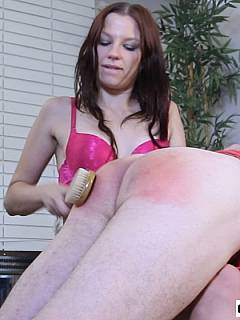 Teen slut is inviting you to lay down over her knees and enjoy a paddling session where your ass to be spanked with wooden hairbrush