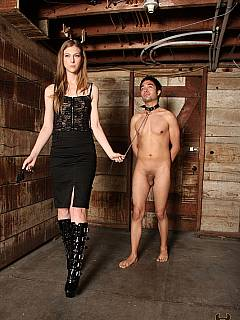 Goddess comes to the stables where ponyboy is kept: his balls to be tormented with rope bondage and then locked into chastity cage