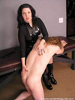 Sissy is hair-pulled by the cruel MILF and forced into OTK ass spanking submission