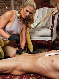 Leggy babe put on rubber gloves to make femdom sissification process more enjoyable for the slave and herself