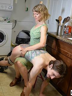 Dude is ashamed to lay down with his ass exposed and being spanked by his own mom