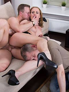 Wife sluts calls in for her lover to come to fuck her and to humiliate cuck husband