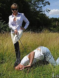 Submissive husband is having a whole day of outdoors training riding his bitchy wife on the back as ponyboy