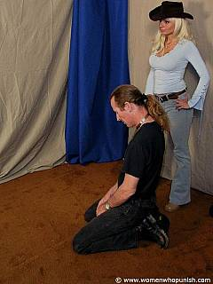 Busty cowgirl is wearing sexy costume in the scene where she is educating a ponyboy