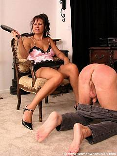 MILF is having loads of fun using big paddle on the exposed male who put his pants down and went on all fours