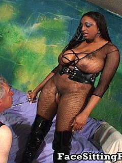 Submitting to busty black woman means wearing lingerie, licking her pussy and taking big black dildo into your ass