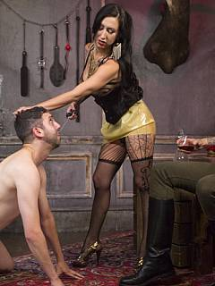 Whore wife is entertaining herself with cuckolding action where her husband is tormented with BDSM and forced to suck dick while ass-fucked