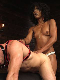 Dude is having the strongest orgasm in his life when taken over, punished and fucked by beautiful black dominatrix