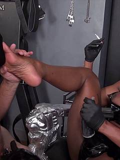 Black dominatrix is making kneeling slave to suck her feet and to blow another man on command like a slut