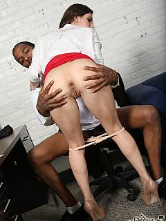 Slut is making cuckold boyfriend happy by taking in massive black cock and collecting all the cum inside