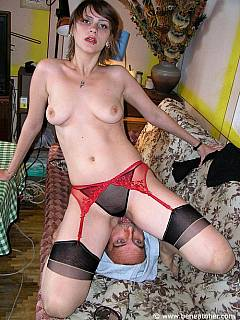 Topless girlfriend is doing facesitting in slutty panties and a pair of black nylons