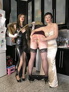 Sissy is in the feminization training process where he is turned into a maid by a couple of cruel women