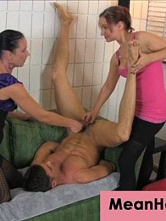 Sporty girl is using little bit of wrestling to put man in submission so she and her mate could play with his manhood
