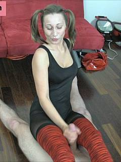 Slut with pigtails is making handjob look like harsh CBT torment when she put man in pain with nothing but her hands