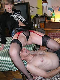 Cuckolding wife is calling her lover to come and fuck her while sitting on husband's face in black nylons