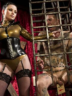 Mistress is hoping hardcore BDSM punishments and degrading anal sex are going to stop this man from stroking his cock