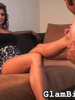 Leg worshiping slave is making sure dominatrix feet are licked out perfectly before putting on her high heel shoes
