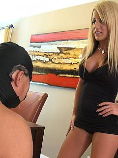Slave was bad at cleaning the house and receives a few painful face slaps from gorgeous blond mistress