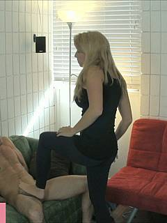 That painful moment when your hands are tied bahind the back and there is cruel blond is playing with your unprotected cocks