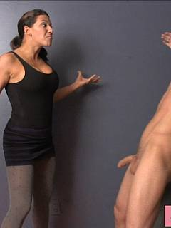 Mean girl is hurting hand cock with her hands while naked male sub is helplessly ceusified