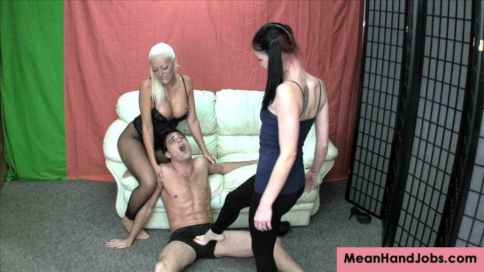 Picture #8 of Two sexy bitches are working as a team busting balls with foot kicks