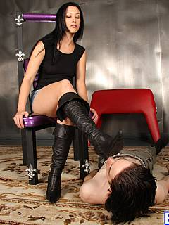 Foot licking is not going to stop until femdom slave cleans classy high heel  leather boots from top to bottom