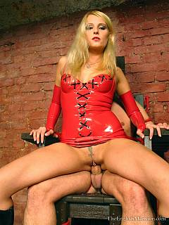 Now/ when nude male is rope-tied to the throne, hot mistress is red leather can tease and torment him the way she wants