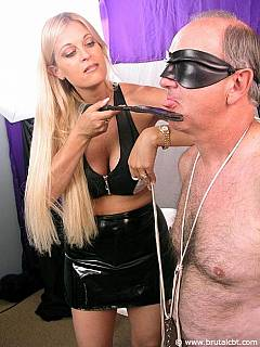 Old man is taken over by hot blond: sucking high heel and then having his penis violated with the shoe