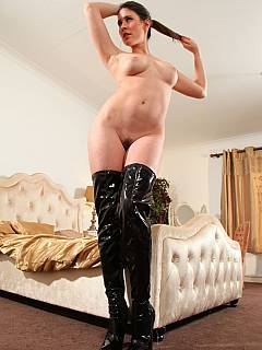 MILF is feeling natural in slutty knee-boots and see-through lingerie. Ready to punish worthless men