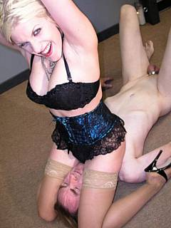 Leggy blond is enjoying femdom action where facesitting in combined with wrestling