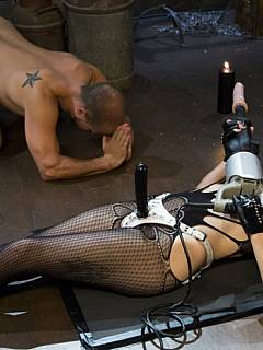 Evil mistress got a full range of hardcore BDSM torments for naked femdom slave to suffer pain and to enjoy humiliation from