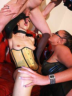 Hot dommes are really passionate about each other and using a slave to have kinky femdom threesome