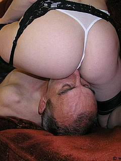 Male slave is experiencing magic moments when MILF mistress is sitting on his face in stockings and g-strings