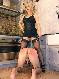 Husband is living his life dominated by strict wife every single day: spanking and balls pulling are on the list of tortured this time