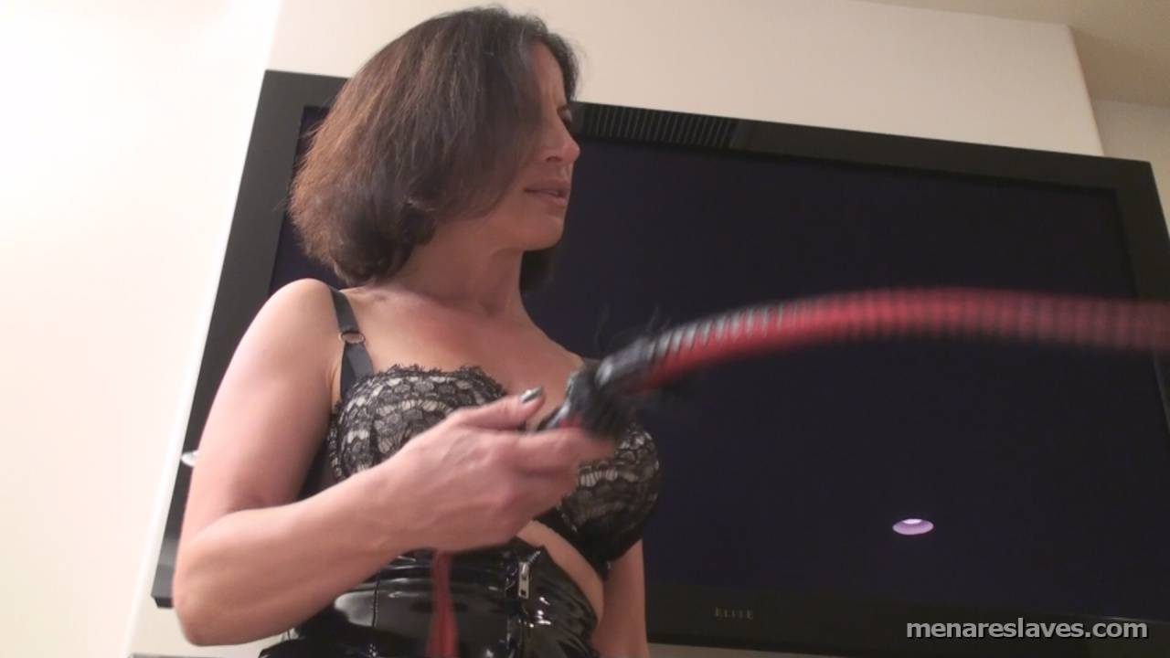Picture #5 of MILF wife is dressed up in kinky PVC and taking lesson from the professional dominatrix on how to dominate and punish her husband